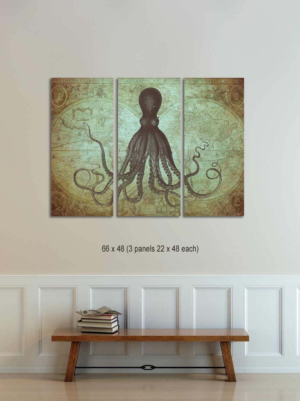 Octopus triptych vintage world map canvas octopus on map zoom gumiabroncs Image collections