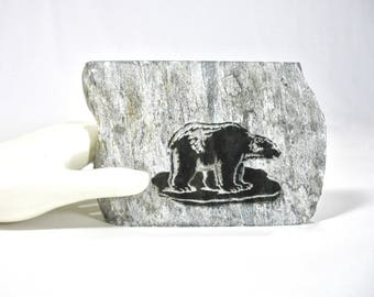 """Vintage Laser Cut Bear on Soapstone, Black Bear, 4"""" x 3"""", Etched, Collectible, Made in Canada, Authentic Soapstone, Man Cave Decor, Den"""