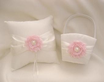 Flower Girl Basket, Wedding Ring Pillow and Flower Girl Basket Set Shabby Chic Ivory or White Custom Colors too