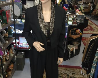 Vintage 1980s John Roberts Gold and Black Jumpsuit with Jacket Sz 8,Made in USA
