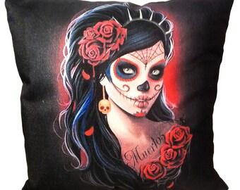 La Calavera Catrina Pillow - Day of the Dead Style - Día de Muertos - Decorative Throw Pillow