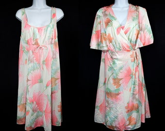 10 Dollar Sale---Vintage 70's ORRAINE 2 Pcs Nighties & Gown Pink Floral Pattern L