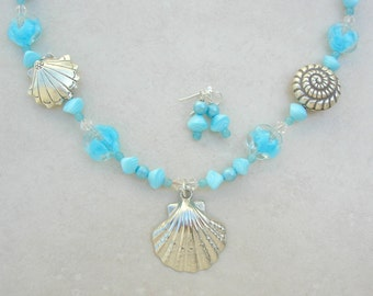 Beachcomber, Sea Shells, Pearls & Old Glass Aqua Beads, Summer/Cruise/Resort Wear, Sea Treasures Collection, Necklace Set by SandraDesigns