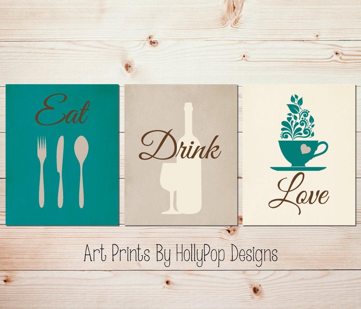 Modern Kitchen Art Set: Teal Kitchen Decor Modern Kitchen Art Set Kitchen Wall Prints