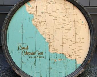Central California Coast Map Barrel End
