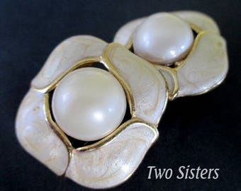 TWO SISTERS EARRINGS * Pearlized Enamel * Large Faux Pearl Cabochon * Clip Ons