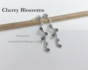 Cherry Blossom Earrings, Sterling Silver Cherry Blossom Post Earrings, Sterling Silver Ball Post Earrings
