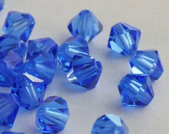 50 Vintage Swarovski Crystal Beads, 5mm Sapphire Article 5301, 50 Vintage Crystal Beads, Blue Crystal Beads