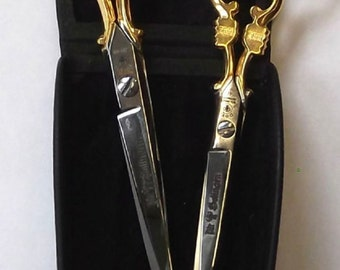 "Dovo Scissor SET 3 pc GOLD Plated w Leather Case 3-1/2"", 5"", 6"" -Free US Shipping!!!"