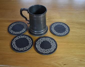 Celtic slate coaster set. Dwarven fantasy coasters. Gripping best design. Personalised in presentation box.