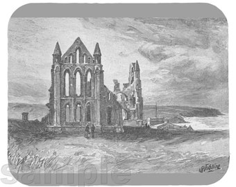 Mouse Pad; Whitby Abbey  Ruins Viking Attack