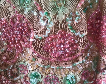 Amazing Pink and Green Beaded and Sequined Chantilly Lace- 3 meters