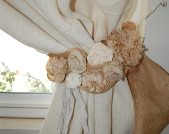 Curtain tie back with burlap and linen rosettes
