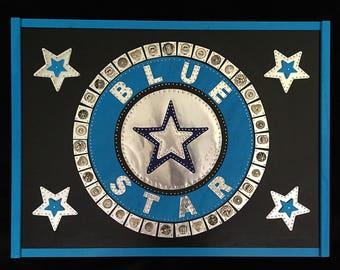 Blue Star - Recycled Mixed Media Assemblage on Wood