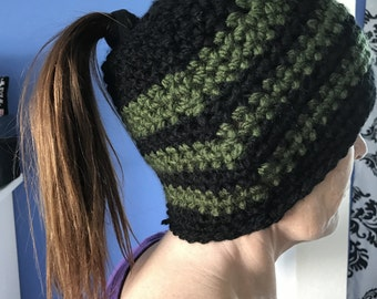 Black And Olive Green Crocheted Messy Bun, Ponytail Hat