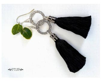 Tassel Earrings, Black Tassel Earring, White Tassel Earring, Black Tassels Earrings, White Tassels Earring, Dangle Earrings, Tassels Earring
