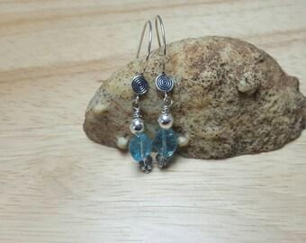 Small Blue Apatite earrings. Bali silver earrings. Crystal Reiki jewelry uk. Gemini jewelry.