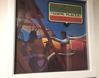 HERB ALPERT and the Tijuana Brass - Vintage Vinyl Music Album Cover encased in a White Box Frame, Wall art, Picture Framing, Home decor.