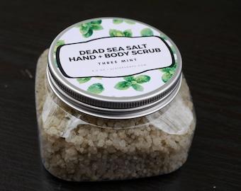 Salt Scrub Mint-Peppermint, Spearmint, Wintergreen, Dead Sea Salt, Salt Glow, Moisturizing, soft hands, dry skin, winter, nourish, spa, gift