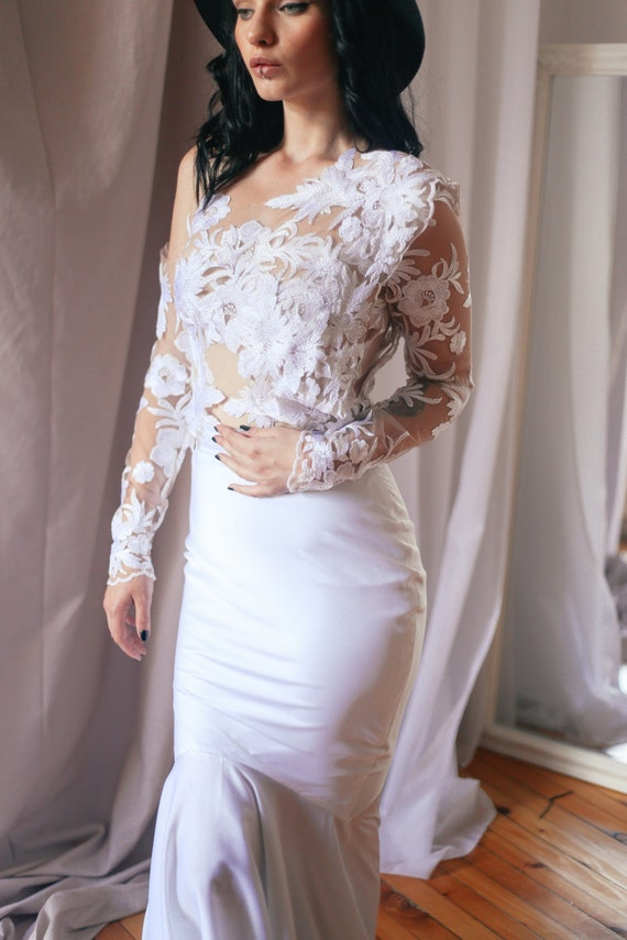 Lace Bridal Top Tulle Top Long Sleeve Top Sheer Wedding