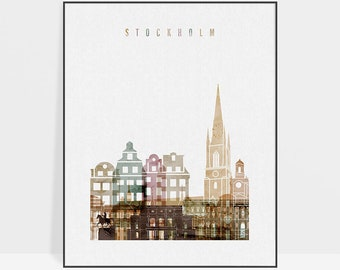 Stockholm print, watercolor poster, Stockholm wall art, Stockholm skyline, Sweden art, travel decor, gift, Home decor, ArtPrintsVicky