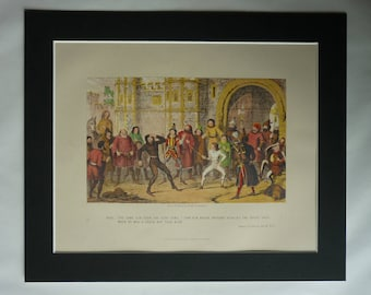 1870s Antique George Cruikshank Print of King Henry IV, Shakespearean Decor, Available Framed, Stage Art, William Shakespeare, Theater Gift