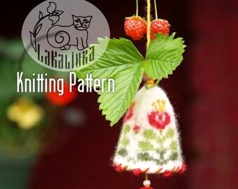 Knitting pattern PDF- bells - Spring Summer hanging ornaments - stranded colorwork - English pattern -  decorative - felt - embroidery