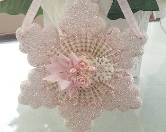 Shabby Chic Pink Glitter Snowflake Hanger Vintage Pink Winter Snowflake Ornament With Pink Pearls and Roses