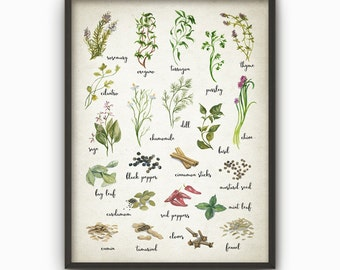 Herbs And Spices Watercolor Kitchen Wall Art Poster   Rustic Kitchen Print    Cooking Art Print