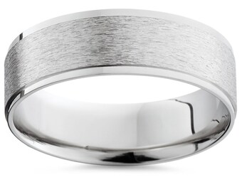 Palladium 6MM Mens Plain Brushed Wedding Band Ring