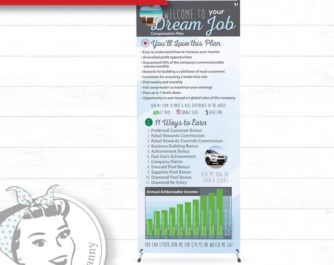 Banner with X-Stand - Dream Job Blue, plexus Banner, New slim, Pink Drink, Pink Drink Update, plexus Swag