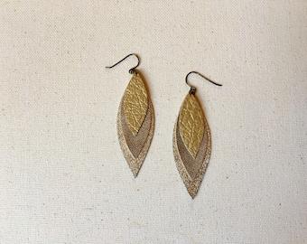 golden trio leaves earrings