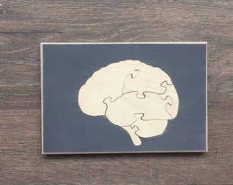 Human brain jigsaw, wooden jigsaw, kids toy, handmade item