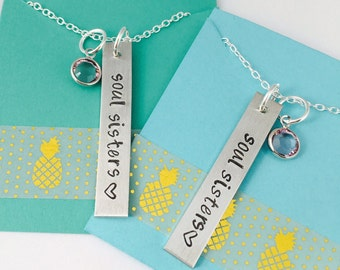 Soul Sisters Necklace, Best Friends Necklace - Hand Stamped Soul Sisters Necklace, Best Friends Necklace Set