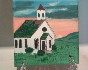 "Acriylic Painting 0n canvas 6x6 x 1 12"" country church"