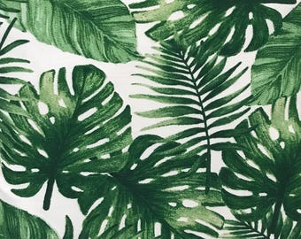 "Green Bahama Palm Leaves Precut Quilt Fabric Squares. 5"" - 6.5"" squares. Fabric for quilting Australia"