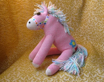 Sock Monkey Pink Pony Horse with Daisies - Rainbow Maned Pink Plush Toy Doll - Rockford Red Heel Socks