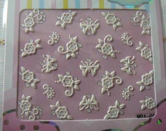 Decorative 3D nail art. Surfboard decor patterns. Model 04: butterflies/flowers/rhinestone - white