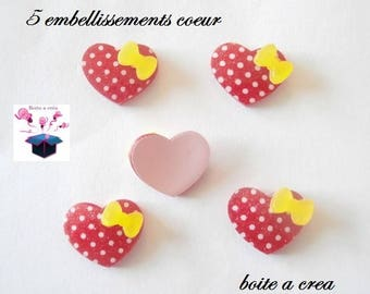 5 red heart with white dots and yellow 17 mm bow embellishments