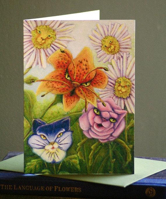 Catty Flowers Alice in Wonderland Greeting Card