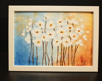 Flowers 1 - acrylic painting. Free delivery.