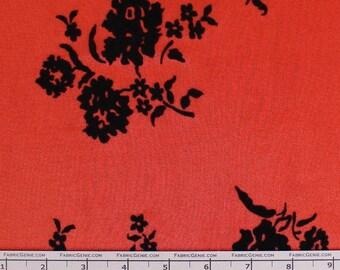 "Black Floral Flocked Chiffon By The Yard ""CHFK7E-0050"""