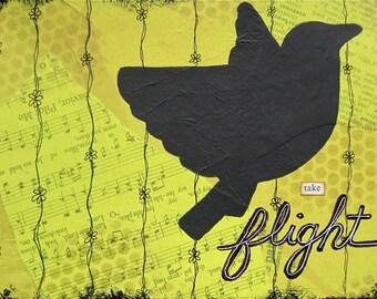 take flight - 5 x 7 ORIGINAL COLLAGE by Nancy Lefko