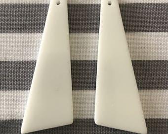 1 pair trapezoid solid white resin slab Native Beadwork earrings
