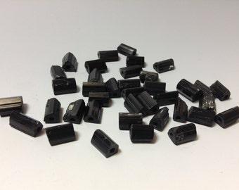 Rough natural black Tourmaline bead 11-13mm long