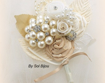 Wedding Groom Boutonniere Ivory Gold Champagne, Brooch Boutonniere Corsage, Vintage Elegant Style Wedding