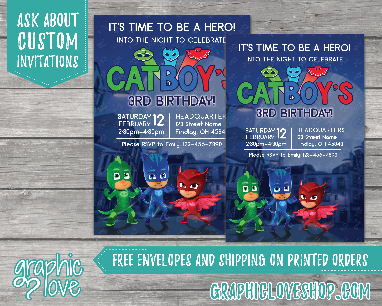 PJ Masks Personalized Birthday Invitations | 4x6 or 5x7, Digital or ...