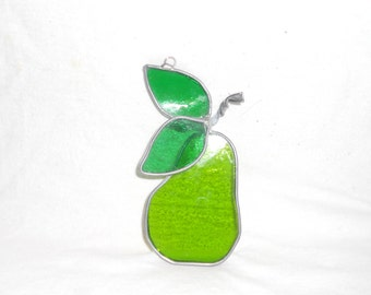 Stained Glass Green Pear Suncatcher 5 x 3