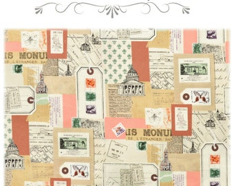 Yuwa Fabric, Postal Stamp Fabric - Live Life Collection by Suzuko Koseki 826197 - Tan & Pink - Priced by the 1/2 yard