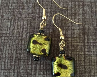 Olive Green Square Earrings